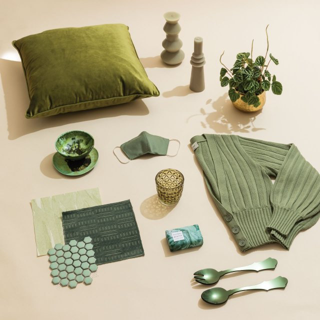 Products in different shades of green