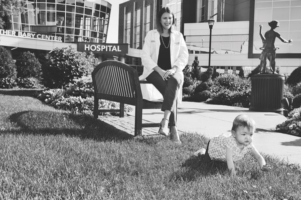 Baby McKenna and Dr. Kamrath outside Children's Minnesota