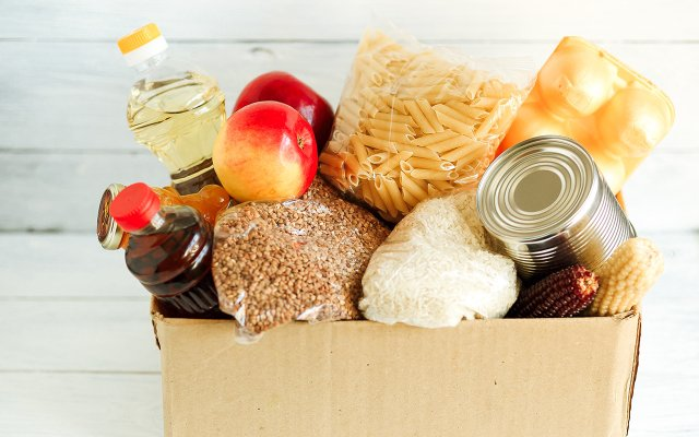 box of donated food