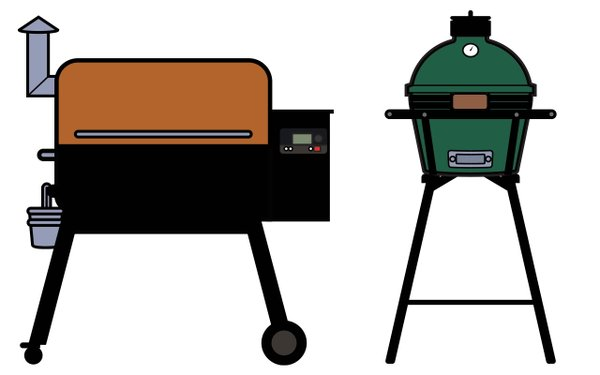 two smokers a Traeger and a Green Egg