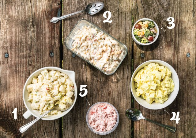 Variety of salads with numbers