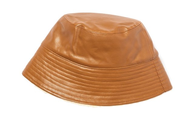 Shearling-lined faux leather bucket hat