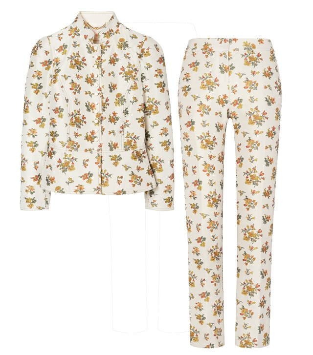 Floral jacquard jacket and trouser