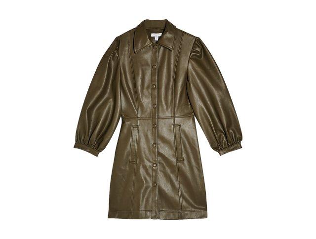 Faux Leather Shirtdress