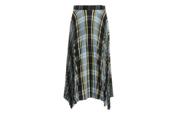 Pleated Madras plaid silk skirt