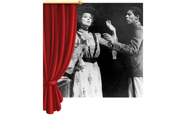 old picture of actors behind a red curtain