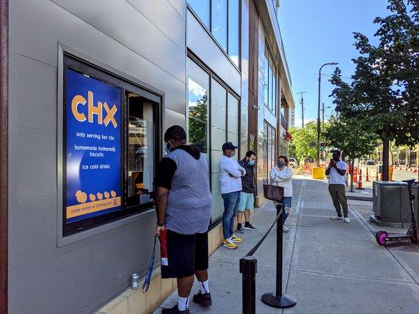 the line outside CHX