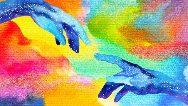 watercolor hands touching hands