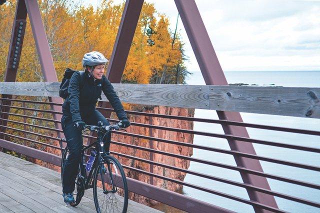 Biker on the Gitchi-Gami State Trail