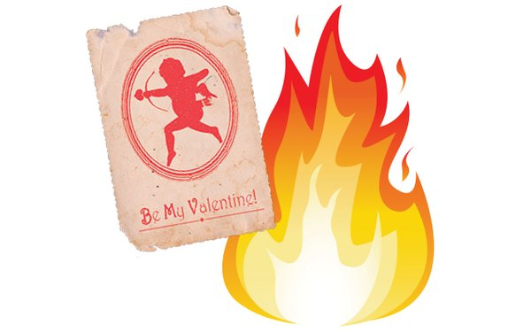 Valentine card with fire