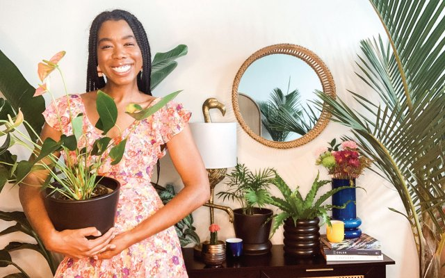 Shayla Owodunni with her plants