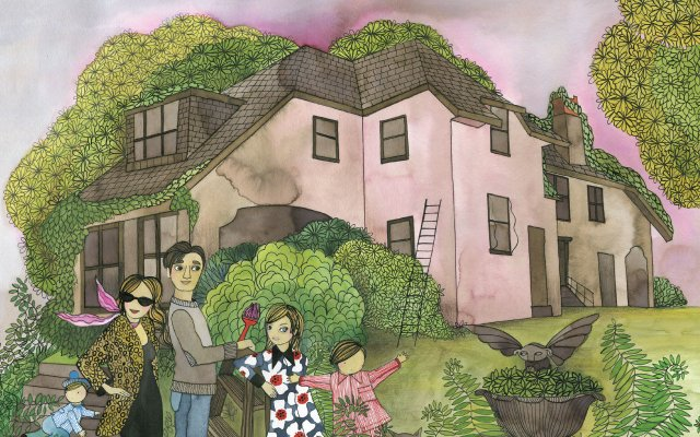 Illustration of family in front of a big old house