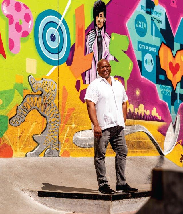 Architect James Garrett Jr. stands in the skate park