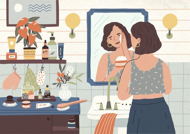 Woman at Mirror Illustration – Just Wondering