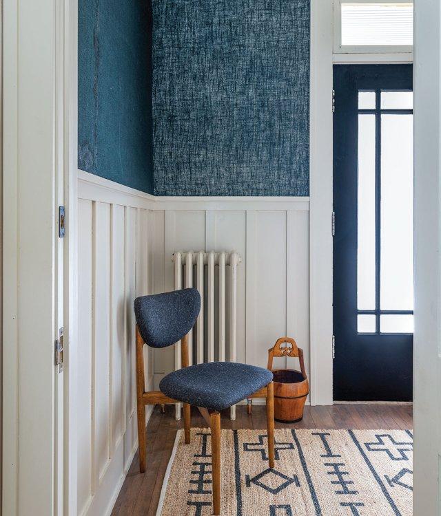 blue chair in vestibule