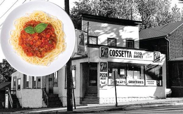 Cossettas restaurant and a bowl of pasta