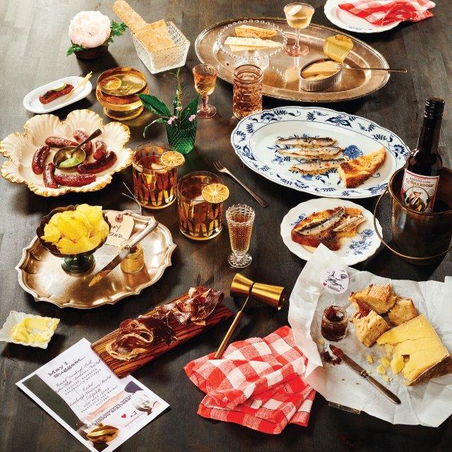an assortment of food and liquor