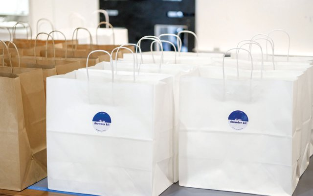 Many takeout bags