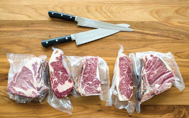 Steaks in vacuum packs