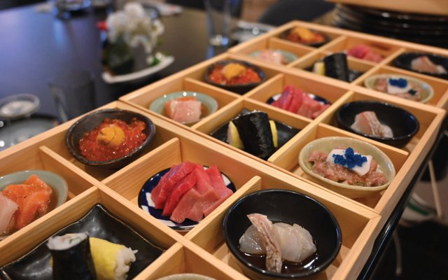 sushi in boxes
