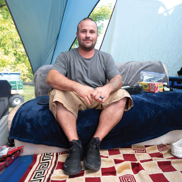 Homeless man named Joey in a tent