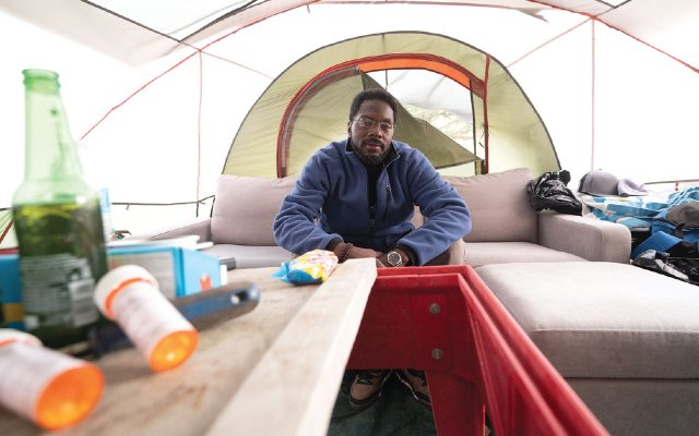 Homeless man named Don in a tent