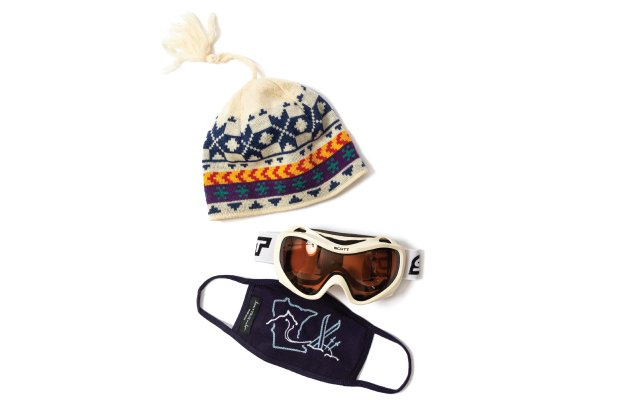 winter hat, ski googles and a Minnesota themed face mask