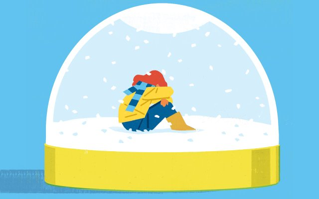 Illustration of a girl in a snow-globe