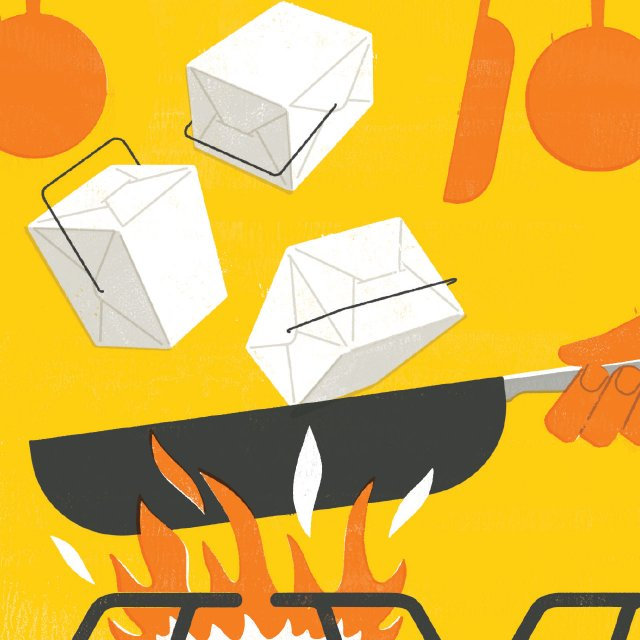 Illustration of a frying pan over a fire tossing to-go containers
