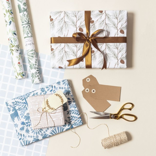 An arrangement of holiday wrapping paper
