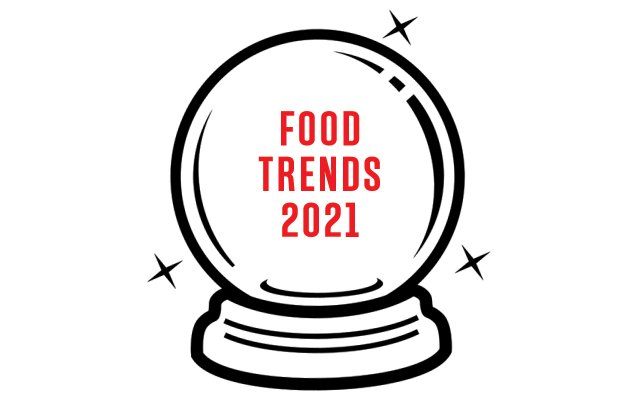 Crystal ball with 2021 food trends