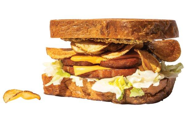 Spam and potato chip sandwich