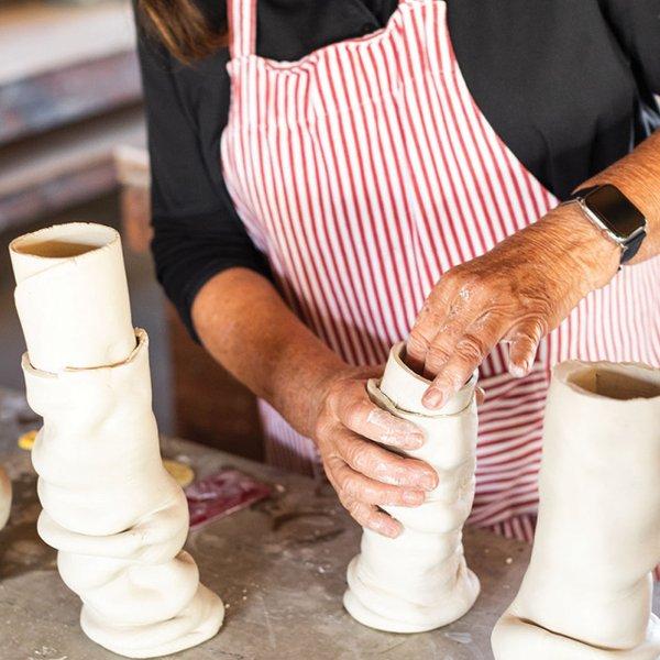 scrunchy style vases