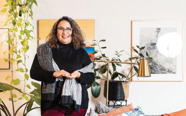 Kristine Anderson in her midcentury modern home