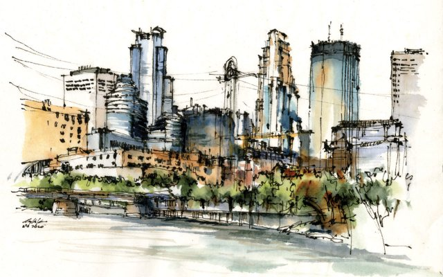 watercolor of downtown Minneapolis