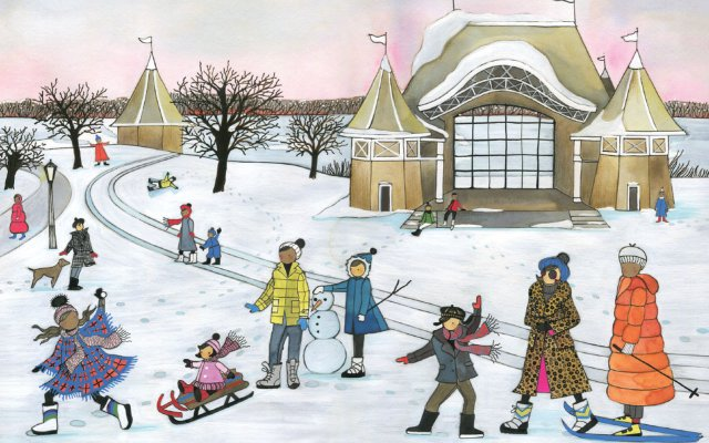 Illustration of a winter scene with people doing a variety of activities