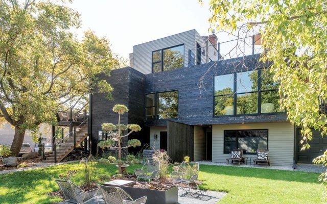 Modern house back yard exterior