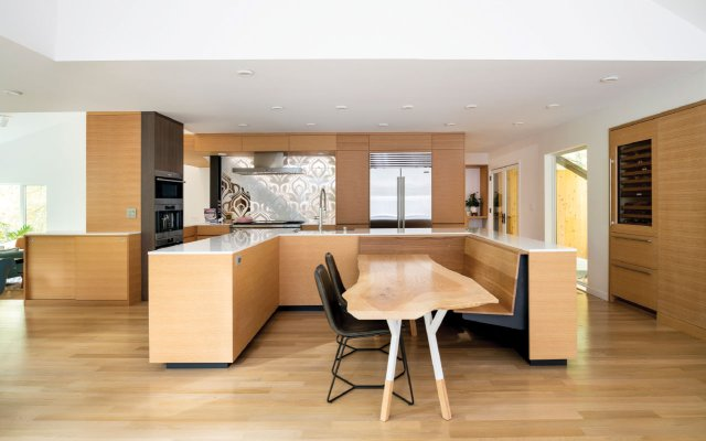 Modern kitchen with lots of blond wood