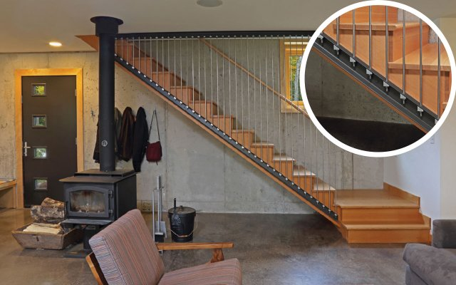 modern staircase with closeup of stair stringers