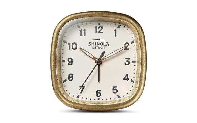 Shinola brass clock