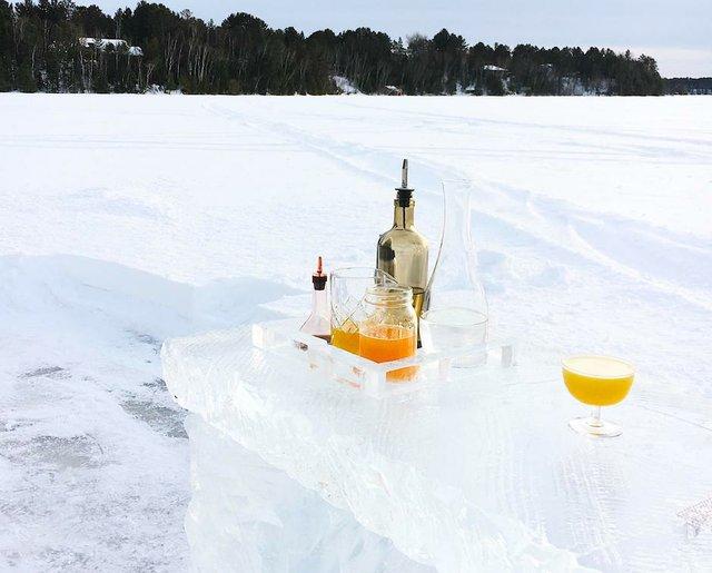 ice bar on a lake
