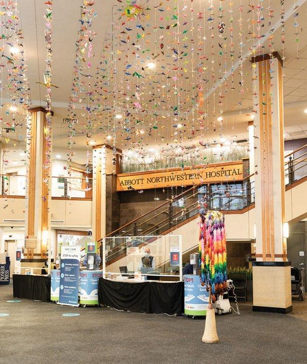 Abbott Northwestern lobby filled with paper cranes