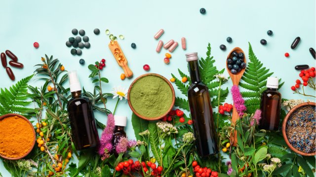 colorful spread of naturopathic remedies.