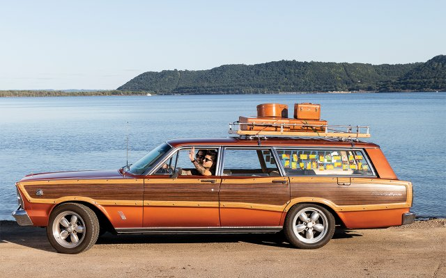 orange wood-paneled station wagon