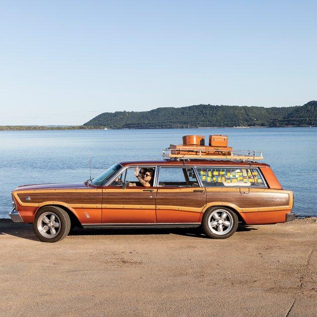 orange wood-paneled station wagon