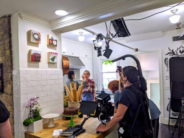 filming a cooking show in the kitchen