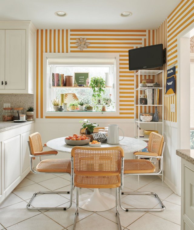kitchen table with graphic yellow and white design