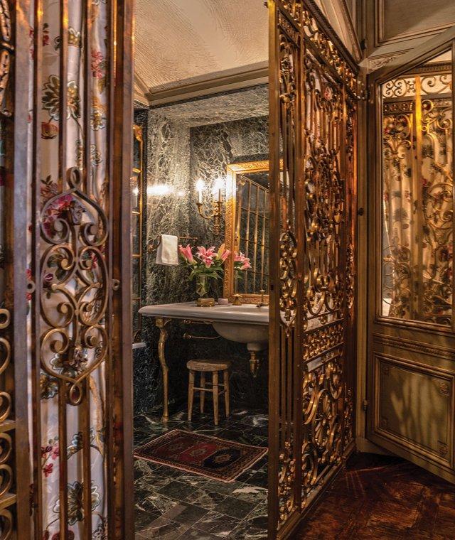brass gates to bathroom