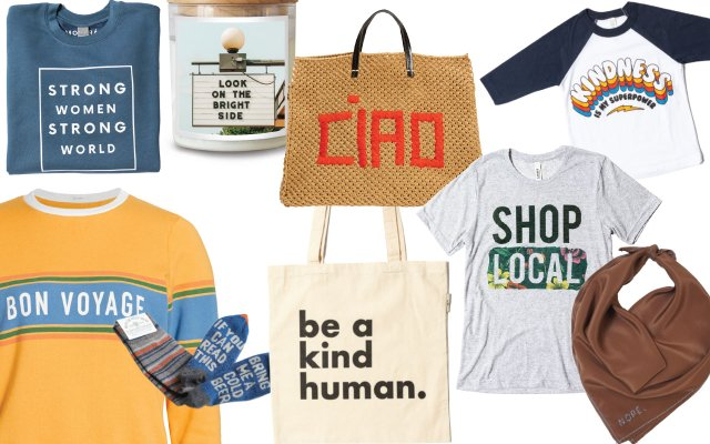 collage of products with positive affirmations on them