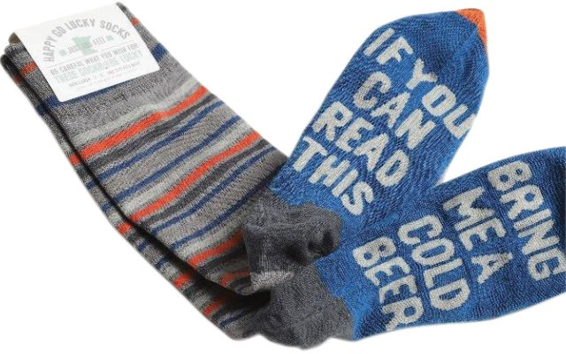 Socks with saying on them